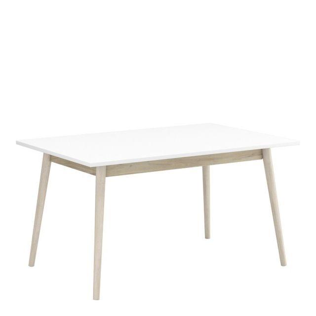 Demeyere Table salle manger blanc bois Découverte