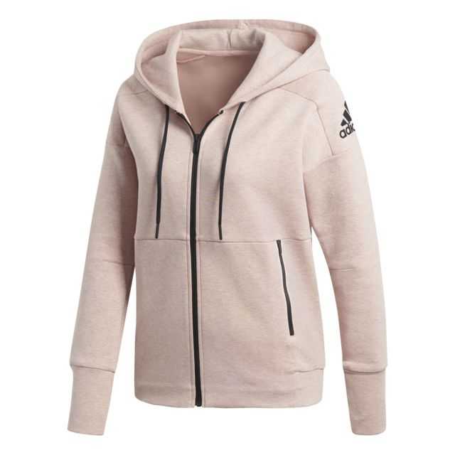 Adidas - Veste à capuche femme Id Stadium gris chiné rose clair rose clair  - pas cher Achat   Vente Tee-shirts 1fd8f64bf5f