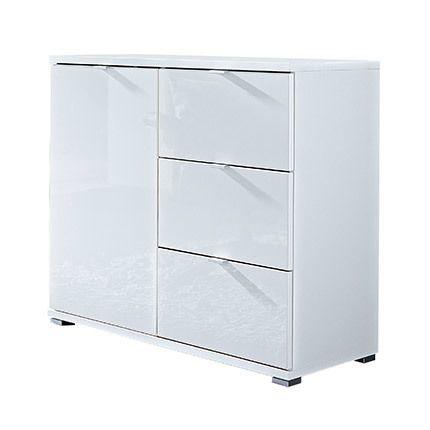 Commode 1 porte 3 tiroirs blanc - Rani