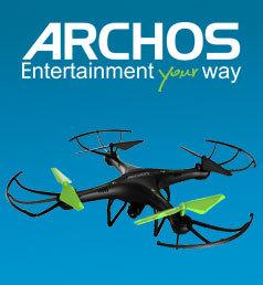 ARCHOS Drone Wifi avec caméra HD Pilotable sur smartphone Flip à 360°, Attitude maximale de 50 mètres de hauteur, Vitesse maximum de 7.7m/s