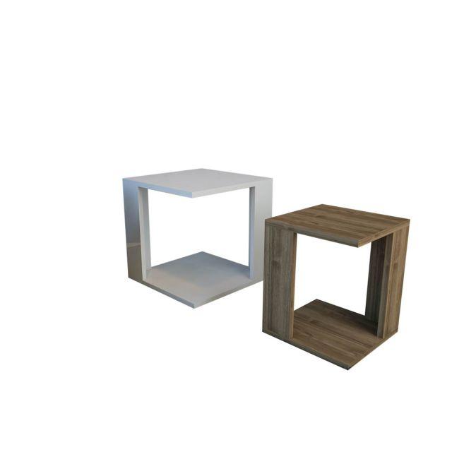 2 Tables à café encastrables Cubic 40 x 40 cm Blanc et marron