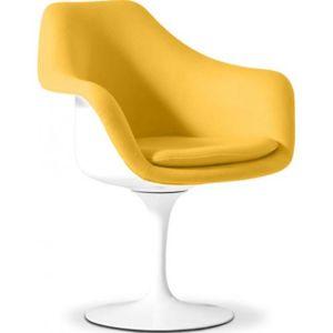 Privatefloor Fauteuil Tulipe Style Eero Saarinen Tissu Jaune - Fauteuil jaune solde