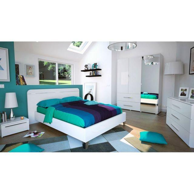 Tousmesmeubles   Chambre Adulte Complète 160 200, Laqué Blanc   Uno
