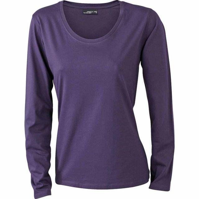 6c3be2aa49e5 James   Nicholson - T-shirt femme manches longues - Jn903 - Violet aubergine
