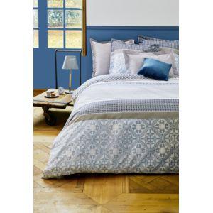 tex home parure rosalie housse de couette 2 taies d 39 oreiller bleu pas cher achat vente. Black Bedroom Furniture Sets. Home Design Ideas