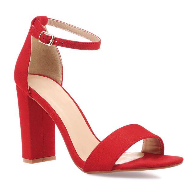 Sandales rouges en simili daim avec talon carré