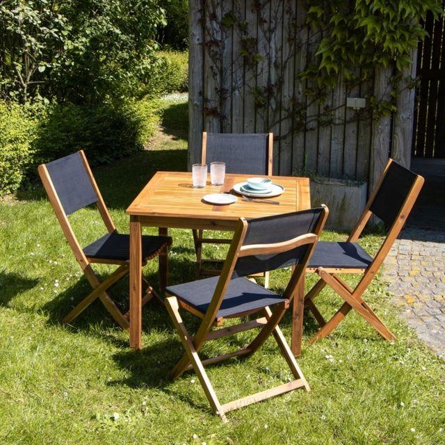 Bois Dessus Bois Dessous Salon de jardin en bois d'acacia Fsc 4 places