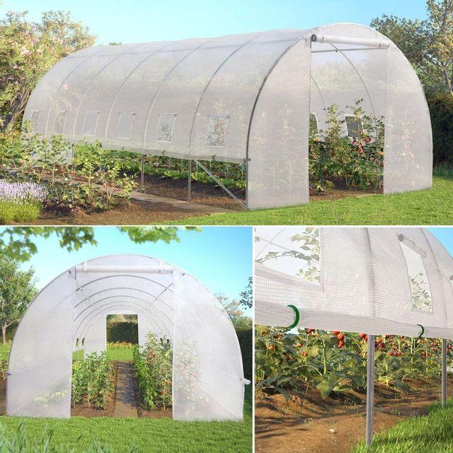 Idmarket grande serre de jardin tunnel toutes saisons 18 m 180gr m blanche transparente - Serre de jardin carrefour ...