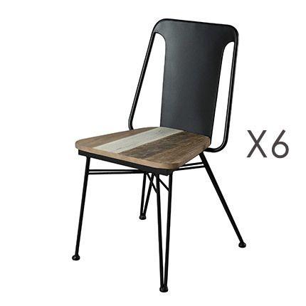 Lot de 6 chaises Danube - bois naturel