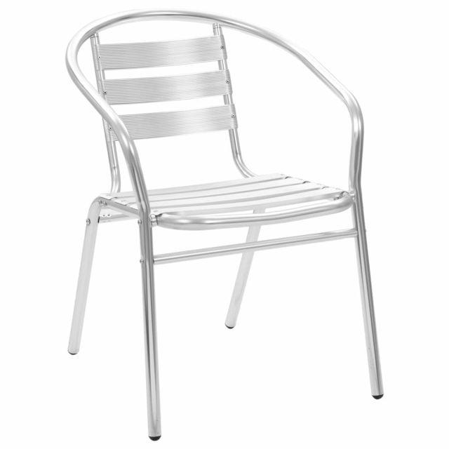 Vidaxl Chaises empilables d'extérieur 2 pcs Aluminium