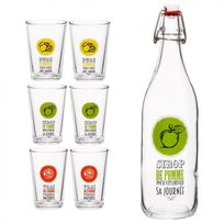 "Paris Prix - Lot de 6 Verres & Bouteille ""Fruit"" Transparent"