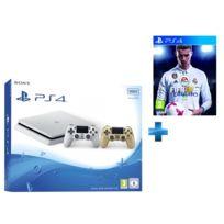 SONY - Playstation 4 Slim 500 Go Blanche + Dualshock 4 Gold + FIFA 18 - PS4