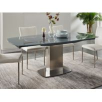 Table A Manger Extensible Talicia Verre Trempe Metal 6 A 8 Couverts Coloris Gris