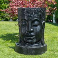 Fontaine de jardin mur d\'eau visage de Bouddha 1 m 20 noir
