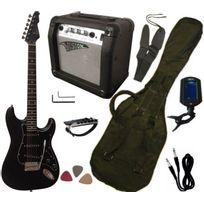 Vision - Pack Guitare Electrique, Ampli15W, Accordeur électronique 7 Accessoires, Noir Mat