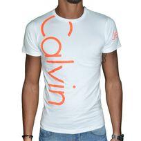 Calvin Klein - T Shirt Manches Courtes - Homme - Cmp13s Fluo - Blanc Orange Fluo