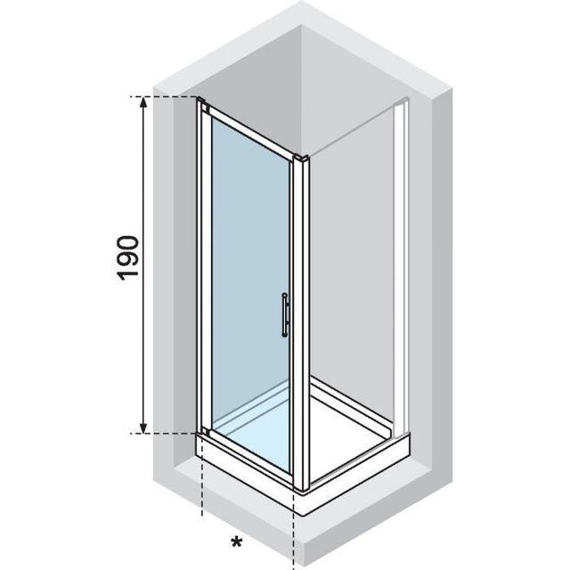 Novellini - Porte Pivot Brosse Lunesg84 Lunesg84-3D
