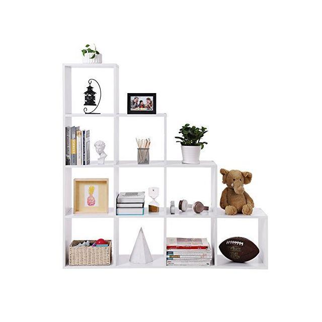 Etagere Escalier Meuble De Rangement 10 Compartiments Pour Bibliotheque Salon Chambre Blanc Lbc10wtv1