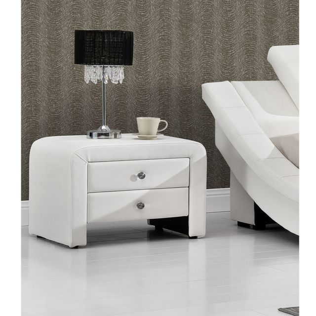 table de chevet simili blanc tiroirs sara with table de chevet brun noir. Black Bedroom Furniture Sets. Home Design Ideas