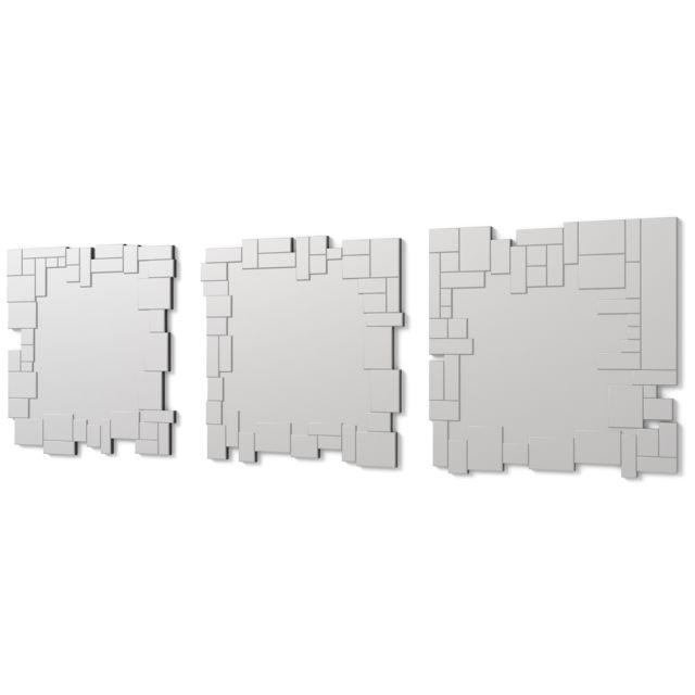 Dekoarte E072 - Miroir mural décoratif moderne avec un cadre décoré et des cristaux dans différents plans, divisé en 3 pièces 180