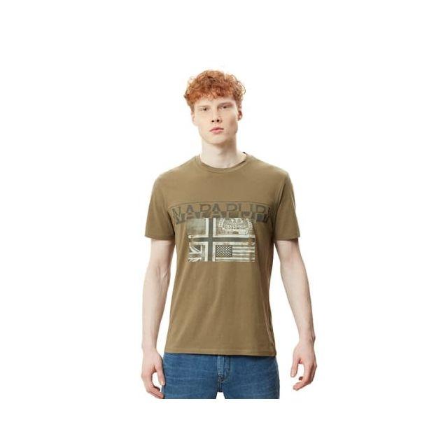 Homme Napapijri Sawy T-shirt en Kaki