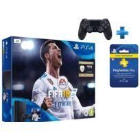 SONY - Pack PS4 SLIM 1To E Noire + FIFA 18 + Carte Playstation Plus - Abonnement 3 mois + Dual Shock 4 - V2 - NOIRE