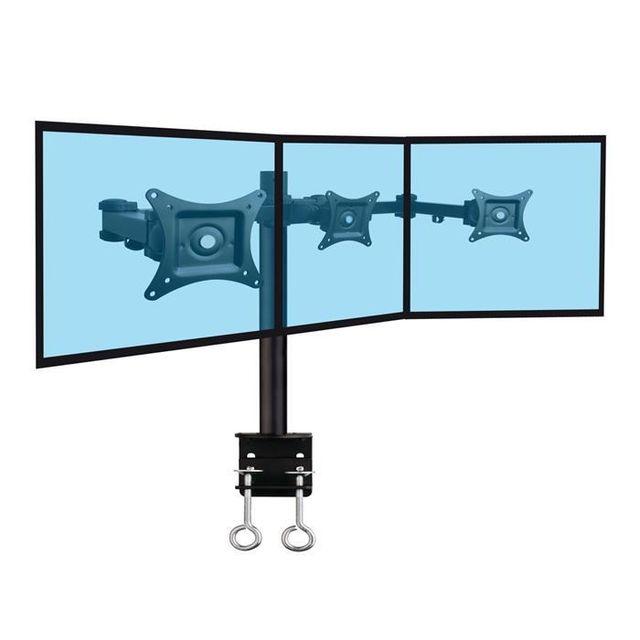 Kimex Support de bureau 3 écrans Pc 13''-20'', fixation bord de table