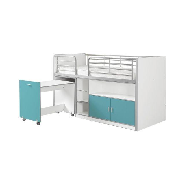 Vipack Lit Mezzanine + Bureau + Rangement 90x 200 Bonny Turquoise