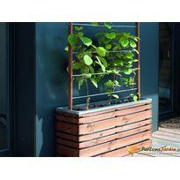 JARDIPOLYS - Bac à fleur en bois rectangulaire avec treillis LignZ 100