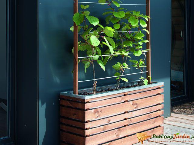 Jardipolys bac fleur en bois rectangulaire avec treillis lignz 100 pas cher achat vente - Bac a fleur en bois avec treillis ...