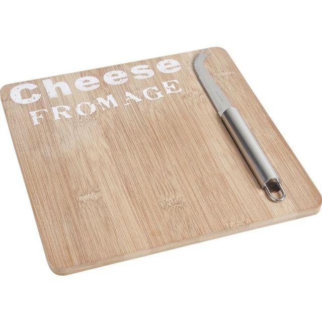 AUBRY GASPARD Plateau de fromage en bambou avec couteau