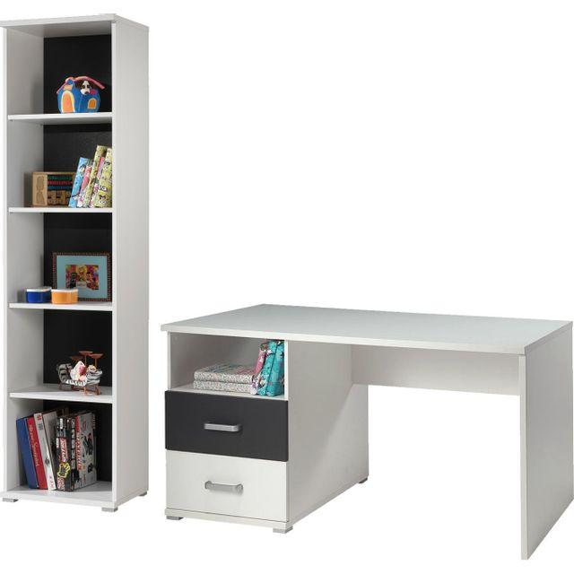 Comforium Ensemble bureau design et bibliothèque en coloris blanc et anthracite
