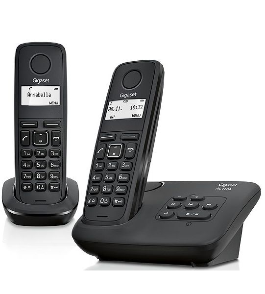 gigaset t l phone fixe sans fil avec r pondeur al117as duo noir pas cher achat vente. Black Bedroom Furniture Sets. Home Design Ideas