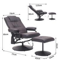 HOMCOM - Fauteuil de massage et relaxation électrique chauffant pivotant inclinable avec repose-pied chocolat 37