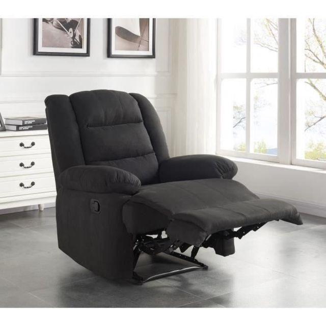 FAUTEUIL VOLUPTO Fauteuil de relaxation en tissu Noir - Contemporain - P 85 cm