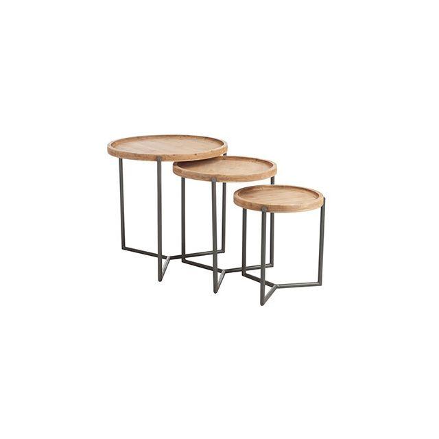 Set de 3 tables gigognes en métal et bois naturel
