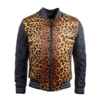 Gov Denim - Veste Teddy homme noir motif léopard 887722_BK XXL