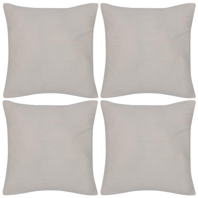 Rocambolesk Superbe 4 Taies d'oreiller beige en coton 80 x 80 cm neuf