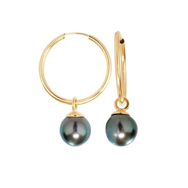 design de qualité forme élégante grande remise Boucles d'Oreilles Créoles Perles de Tahiti et Or jaune 750/1000 - Bps K358  W