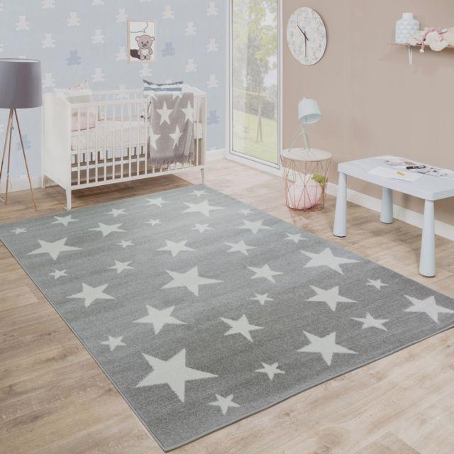 Paco-home - Moderne Poils Ras Tapis Enfant Motif Étoilé Chambre D'Enfant Étoile Gris Blanc 120X170 Taupe
