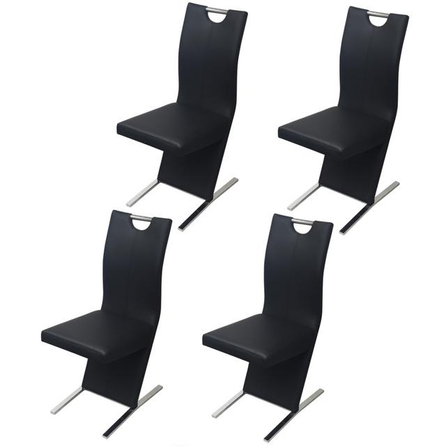 Vidaxl Chaises de salle à manger 4 pcs Noir en cuir artificiel