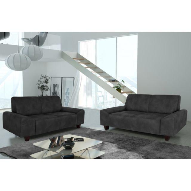 Rocambolesk Canapé Quick 3+2 Tobago 17 antracite+pieds venge sofa divan
