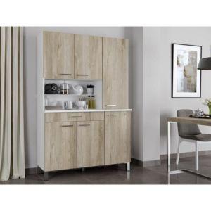 aucune eco buffet de cuisine avec plan de travail 120 cm blanc mat et d cor chene clair mat. Black Bedroom Furniture Sets. Home Design Ideas