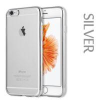 Shot - Coque Silicone Contour Iphone 5/5S Plus Apple Chrome Transparente Bumper Protection Gel Souple GRIS