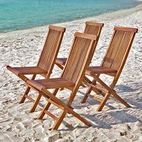 Bois Dessus Bois Dessous - Lot de 4 chaises de jardin en bois de teck huilé Bali