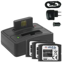 mtb more energy® - 4x Batterie + Double Chargeur USB/Auto/Secteur, Ba-300 pour Sennheiser Ri 410 IS 410 Ri 830 Set 830 Tv Ri 830-S, Ri 840 Set 840 Tv Ri 900, Rr 4200 v. liste