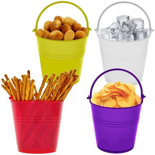 Promobo Lot 4 Pots Seaux pour apéro Cocktails Glaçons Biscuit Apéritif Fluo Rouge