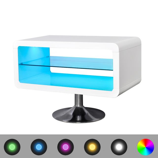 Rocambolesk Superbe Meuble Tv Led blanc brillant 80 cm neuf