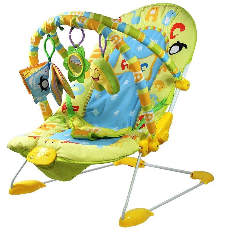 Transat bébé vibrant et musical + Barre à jouets et dossier inclinable