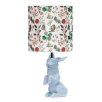 Domestic - Jeannot Lapin - Lampe à poser Céramique Gris et abat-jour Tissu Automne H60cm - Lampe à poser designé par Nathalie Lété